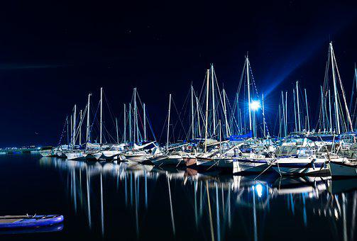 Sailboats, Reflection, Boatyard, Boats, Mast, Rigging
