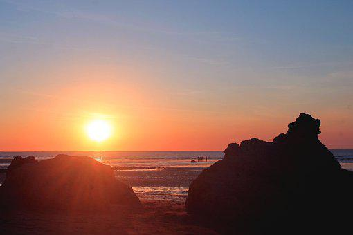Beach, Sunset, Sea, Ocean, Boulders, Rocks, Seashore
