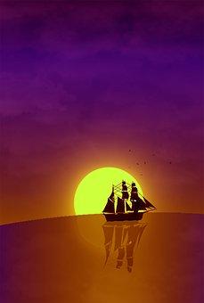 Ship, Sunset, Silhouette, Sail, Sailing, Mast, Rigging