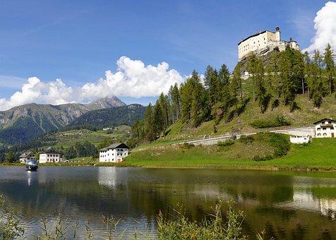 Lake, Tarasp Castle, Castle, Fortress, Citadel
