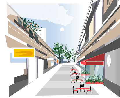 Shops, Street, Chairs, Tables, Buildings, Trees