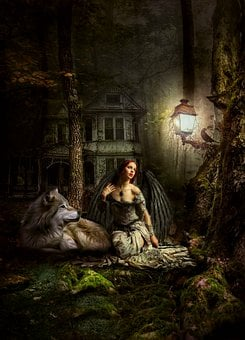 Woman, Angel, Fallen Angel, Wolf, Illuminated, Wings