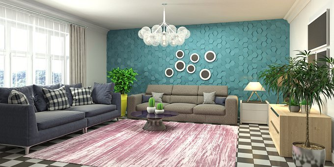 Living Room, Interior Design, 3d Rendered, 3d Rendering