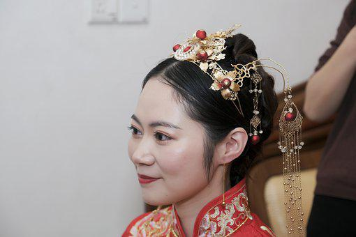 Asian Bride, Portrait, Makeup, Applying Makeup