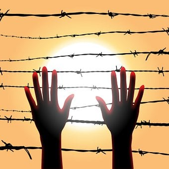 Hands, Barbed Wire, Sunset, Silhouette, Backlighting