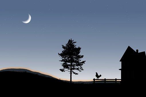 Silhouette, Farm, Barn, Tree, House, Hill, Moon