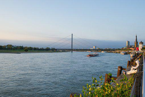 River, Bridge, City, Water, Evening, Mood, Atmosphere