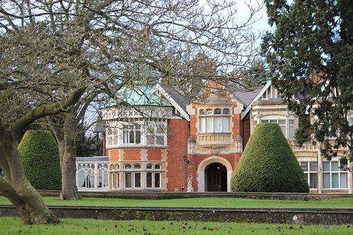 Bletchley Park, Mansion, House, Park, Garden, Facade