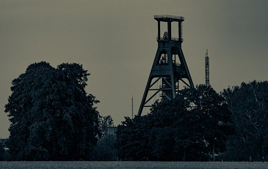 Head Frame, Mining, Tower, Structure, Evening, Twilight