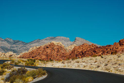 Road, Highway, Desert, Car, Trip, Mountain, Landscape