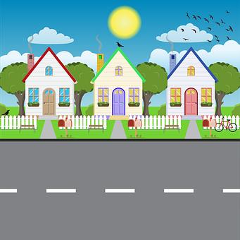 Houses, Home, Street, Buildings, Neighborhood