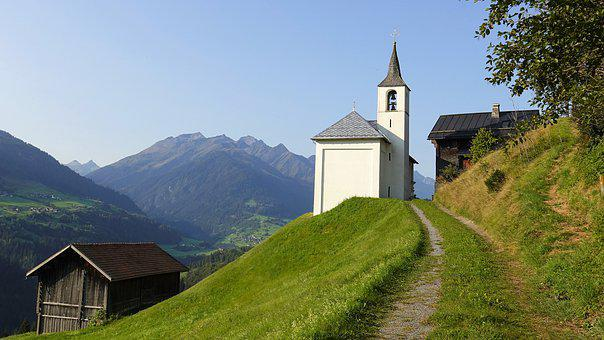 Mountains, Trail, Chapel, Mountain Church, Landscape
