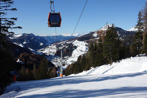 Mountains, Snow, Lift, Cablecar, Forest, Trees, Ski