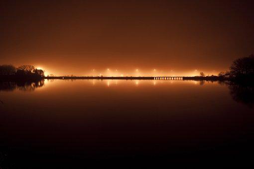 Bridge, River, City, Night, Lights, Skyline