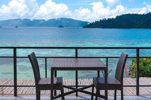Ocean, Sea, Table, Chair, Mountains, Island, Tourism