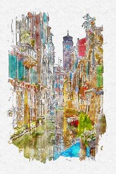 Photo Art, Digital Painting, Town Painting