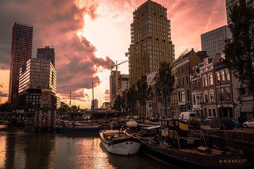 Port, Buildings, City, Lake, River, Boats, Architecture