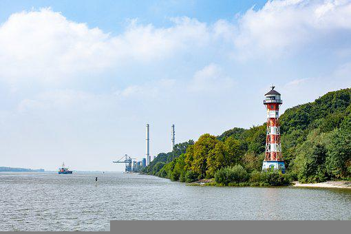 River, Lighthouse, Port, Building, Tower, Water