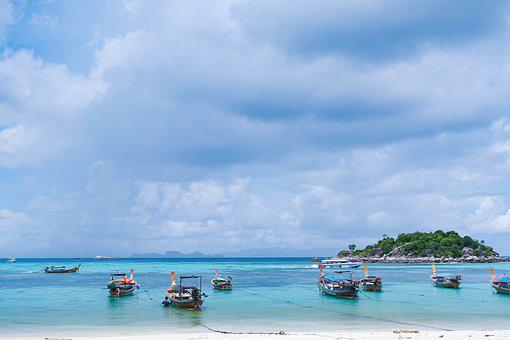 Boats, Ship, Ocean, Sea, Coast, Sand, Mountains