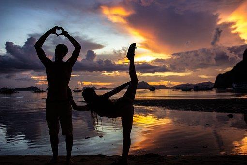 Sunset, Silhouette, Couple, Posing, Love, Lovers
