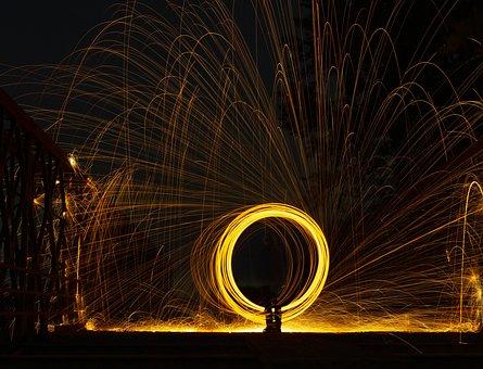 Fire Spinning, Spinning, Sparks, Light Trails