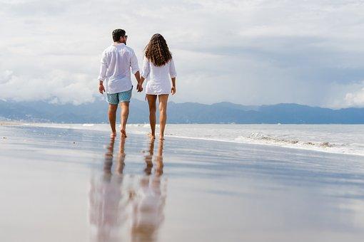 Beach, Couple, Leisure, Stroll, Romantic, Love, Lovers