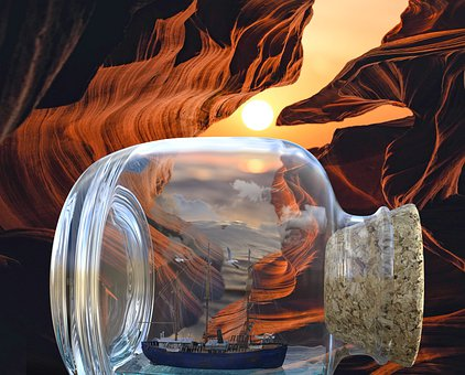 Ship, Cave, Sunset, Waterway, Ocean, Sea, Rocks, Surf
