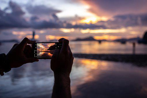 Sunset, Taking A Photo, Photography, Picture Taking
