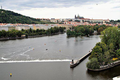 Prague, Czech Republic, Castle, Vltava, River, Boats
