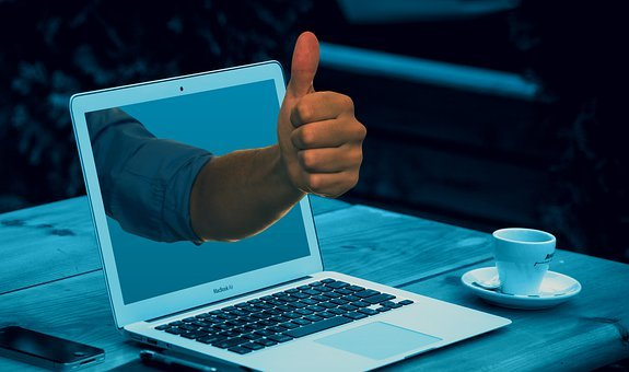 Laptop, Thumbs Up, Workplace, Workspace, Hand, Arm