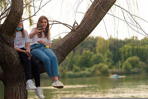 Girls, Branch, Tree, Young, People, Nature, Park, Lake