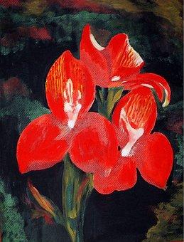 Acrylic Flowers, Painting, Creative, Artistic