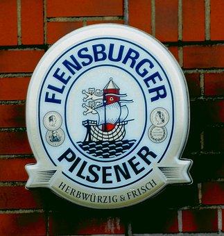 Beer, Shield, Advertising, Flensburger Pilsener