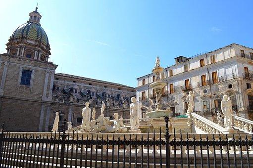 Palermo, Sicily, Fontana, Fontan Pretoria, Monument