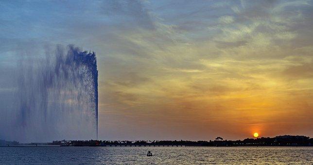 Jeddah, Saudi Arabia, Sea, Corniche, Fountain, Sunset