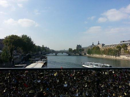 Paris, France, Padlock, Bridge, Landscape, Water, River
