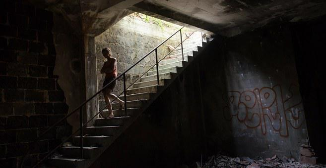 Ruin, Woman, Stairs, Leave, Destroyed, Girl, Broken