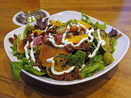 Salad, Vegetables, Smoked Salmon, Green, Healthy