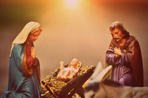 Christmas Crib Figures, Mary And Joseph, Jesus, Fig