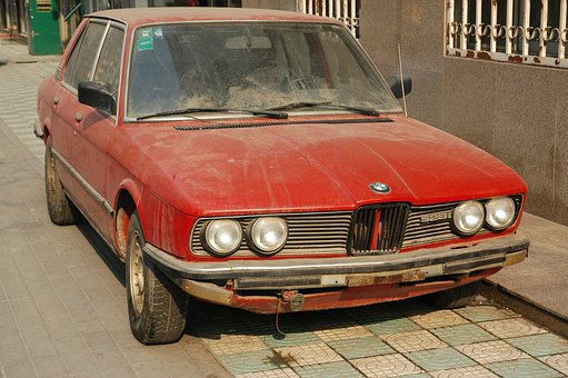 Car, Bmw, Clunker, Old, Rusty, Red, Junk, Junker, Auto