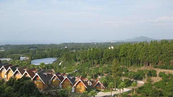 Sky, Jeju, Korea, Condos, Town, Houses, Landscape