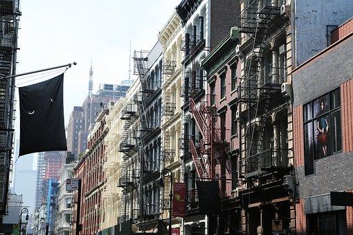 Metropolis, New York, Apartments, Usa, Stairs, Downtown