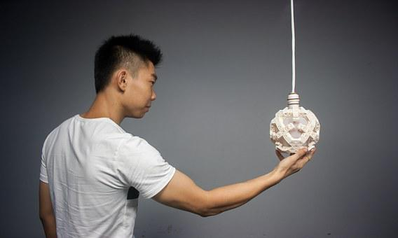 Muscle, Man, Lamps, Asia, Model, Holding, Arm