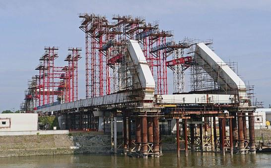 Bridge Building, Danube Bridge, Novi Sad, Serbia