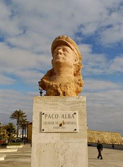 Cadiz, Spain, Statue, Bust, Paco Alba, Beach, The Cove