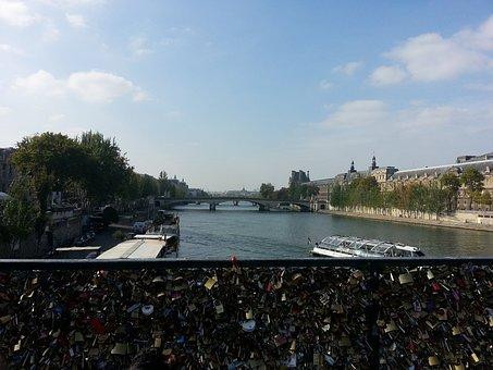 Paris, France, Padlock, Bridge, Landscape, Water, River