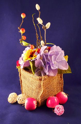 Flowers, Baskets, Blossoms, Fruits, Appled, Red, Purple