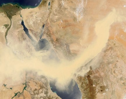 Red Sea, Egypt, Sandstorm, Satellite Image, Sinai