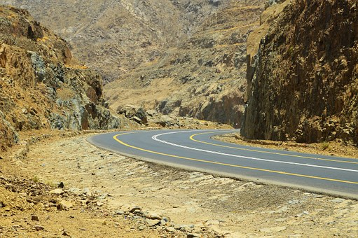 Saudi, Arabia, Mountain, Pass, Highway, Desert, Yellow