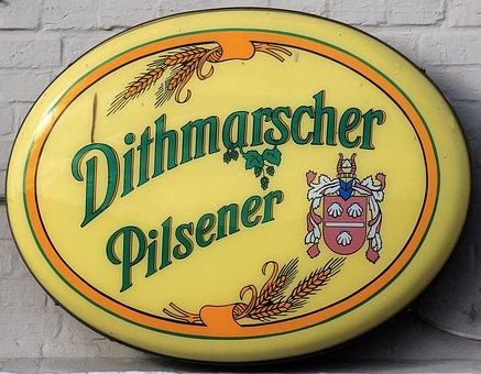 Beer, Shield, Advertising, Dithmarscher Pilsener